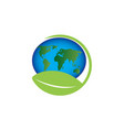 planet map with leaf world envirenment care vector image vector image