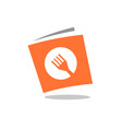 recipe book book with fork symbol logo design vector image