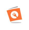 recipe book book with fork symbol logo design vector image
