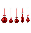 red isolated christmas balls set vector image vector image