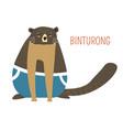 sad fat binturong childish cartoon book character vector image vector image