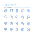 set color line icons helmets and masks vector image vector image