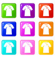 shirt with flag of brazil sign icons 9 set vector image vector image