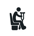 sitting disabled man with a crutches detailed vector image vector image