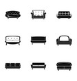 sofa icons set simple style vector image vector image