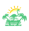 Tropical sunset symbol vector image
