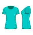 turquoise womans t-shirt template in front and vector image vector image