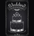 wedding invitation card with cake vector image vector image