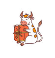 white metal bull sitting with gift - chinese new vector image vector image