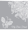 card Grey background and white ornament vector image