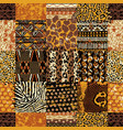 african fabric and wild animal skins patchwork vector image vector image
