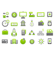 Banking gray greem icons set vector image