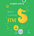 birthday bacute card with sea horse number five vector image vector image