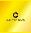black letter c emblem with golden background vector image