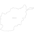 Black White Afghanistan Outline Map