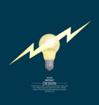 bulb badge with lightning flash vector image vector image