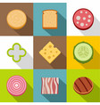 chopped food icons set flat style vector image