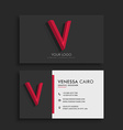 clean dark business card with letter V vector image vector image