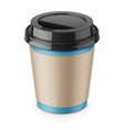 disposable paper coffee cup with lid and sleeve vector image