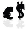euro and dollar symbol in black color vector image vector image