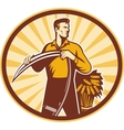 Farmer with scythe and wheat crop vector image vector image
