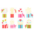 flat open prize concept gift box with confetti vector image vector image