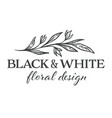 floral design black and white flower monochrome vector image