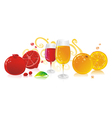 glasses of red and white wine vector image
