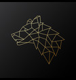 golden geometric wolf head isolated vector image vector image
