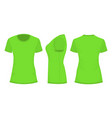 green womans t-shirt in back front and side views vector image
