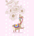 Greeting card design cheerful lama with