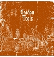 Hand drawn vintage poster with gardening tools vector image vector image