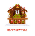 happy new year 2018 dog cartoon in santa house vector image vector image