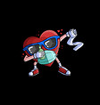 heart dabbing with mask and hand sanitizer vector image vector image