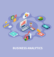 isometric analytics round composition vector image vector image