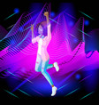 isometric girl on the background of musical waves vector image