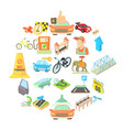 kind of tourist transport icons set cartoon style vector image vector image