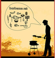 man cooking on his barbecue Invitation vector image