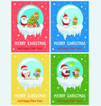 merry christmas and happy new year set of posters vector image vector image