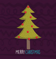 merry christmas celebration pine tree with balls vector image