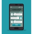 mobile with chat message design vector image