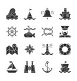 nautical black silhouette icon set vector image vector image