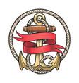 nautical emblem anchor and red ribbon vector image vector image