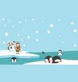 north pole eskimo igloo ice house wiht penguins vector image vector image