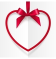 Red frame hanging on silky ribbon with bow vector image vector image