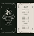 restaurant menu with price and cutlery in hands vector image vector image