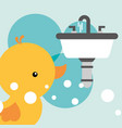 rubber duck toy and white washbasin bathroom vector image vector image