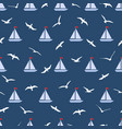 seamless pattern with gulls and ships vector image
