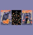 set halloween invitation banners vector image