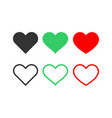 set heart icons love symbol vector image